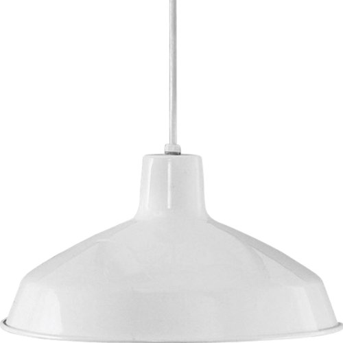 Progress Lighting P5094-30 1-Light Cord-Hung Pendant with White Interlined Shade, White