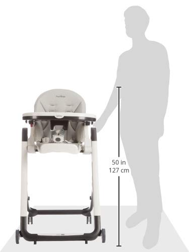 Design-Hochstuhl mit Baby-Liegefunktion und Stop/&Go-System mit Memory-Funktion Peg Perego Siesta Follow Me grau Lederimitat-Bezug Ice