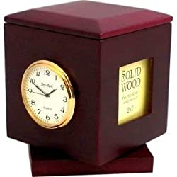 Bey-Berk R49 Rosewood Rotating Pen Box with Two 2x2 Frames, Quartz Clock & Personalization 2 x2 1/4 Brass Plate, Brown