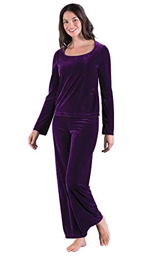 PajamaGram Women's Velour Pajamas with Long-Sleeved Top, Amethyst, X-Large (14)