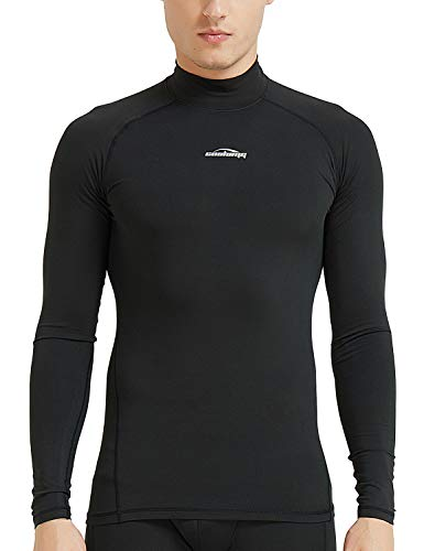 4bfe83afe42 COOLOMG Men s Thermal Fleece Lined Shirts Compression Baselayer Long  Sleeved Tops