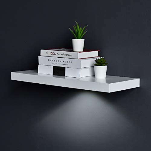 WELLAND White Floating Shelf with Touch-Sensing Battery Powered LED Light,Wall Mounted Display Shelves for Entrance, Living Room, Bedroom, Kitchen and Bathroom (24-INCH, White)