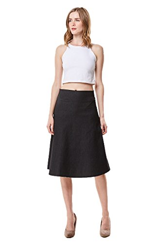 MoDDeals High Waist A-Line Below The Knee Flared Midi Skirt Stretch Woven, Black Denim ()