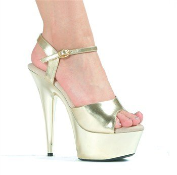 Patent Stripper Platform Heels Shoes - 5