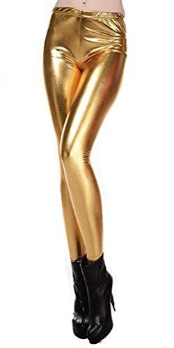 受け継ぐ受け継ぐ不誠実メタリック レギンス フェイクレザー レディース ダンス衣装 スパッツ ヒップホップ 光沢 派手 個性的