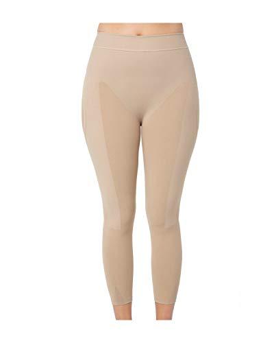 Leonisa Invisible High Waisted Super Comfy Compression Tummy Control Slimming Capri Shaper Leggings Beige