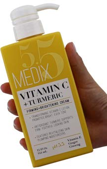 Medix 5.5 Vitamin C Cream w/Turmeric for face and body. Firming & brightening cream for age spots, dark spots & sun damaged skin. Anti-Aging Cream Infused w/Vitamin E, Ginger, Ginseng. (15oz) (Best Skin Brightening Lotion)