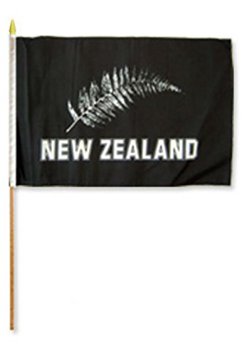 (ALBATROS 12 inch x 18 inch (Pack of 3) New Zealand Silver Fern Stick Flag with Wood Staff for Home and Parades, Official Party, All Weather Indoors Outdoors)
