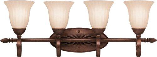 Bronze 4 Light Tannery - Kichler 5929TZ, Willowmore Glass Wall Vanity Lighting, 4 Light, 400 Watts, Tannery Bronze