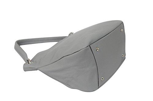 Bolso colores gris mujer Moda cuero de Ambra GL002 para varios en claro auténtico EZqwnR