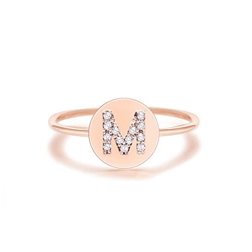 PAVOI 14K Rose Gold Plated CZ Simulated Diamond Alphabet Disc Initial Ring Stackable Adjustable - M