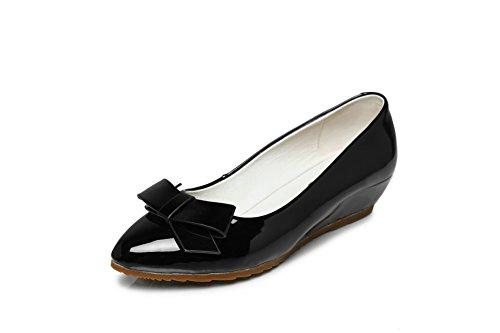 Amoonyfashion Femmes Solides Pointues Fermées Orteil En Cuir Verni Pompes-chaussures Noir