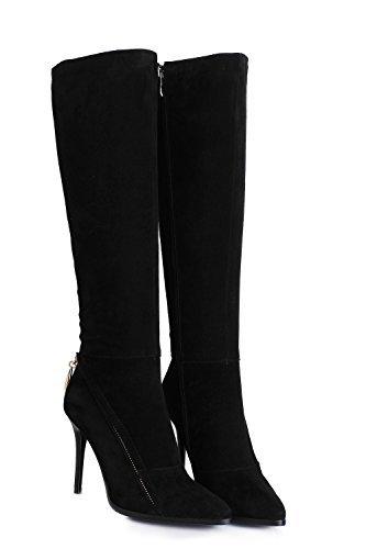 Womens Sexy High Heel Pointed Toe Zipper Decor Suede Leather Knee High Boots (6, black)