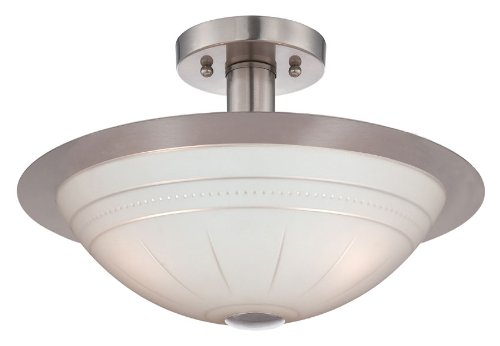 Lite Source LS-18458 Semi Flush Mount with Frosted Glass Shades, Steel Finish by Lite Source (Image #1)