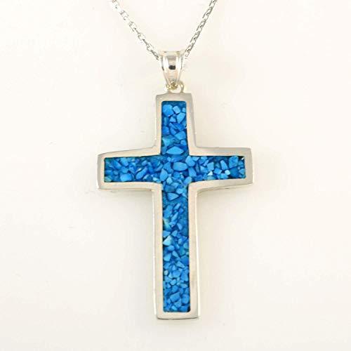 Men's Women's Sterling Silver Blue Turquoise 1.19'' Cross Pendant 16+2''(40+5cm) Extender Chain