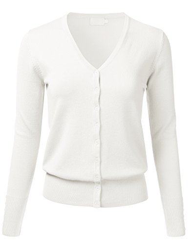 Button Up V-neck Cardigan (FLORIA Women Button Down V-Neck Long Sleeve Soft Knit Cardigan Sweater IVORY S)