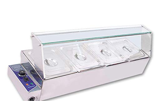 INTBUYING 4-Pan Buffet Bain-Marie Food Warmer Steam Table 1500W 110V Restaurant Warming (Adcraft Chafer)