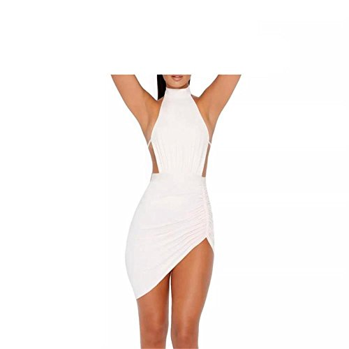 - TYFeng Ruched and Asymmetric Halter Neck Mini Sexy Club Party Dress (L, White)