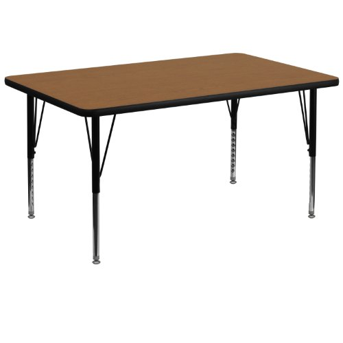 Flash Furniture 36''W x 72''L Rectangular Oak Thermal Laminate Activity Table - Height Adjustable Short Legs -