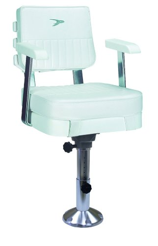 Wise 8WD562-7-710 Ladder Back Helm Chair with Adjustable Height Pedestal, White