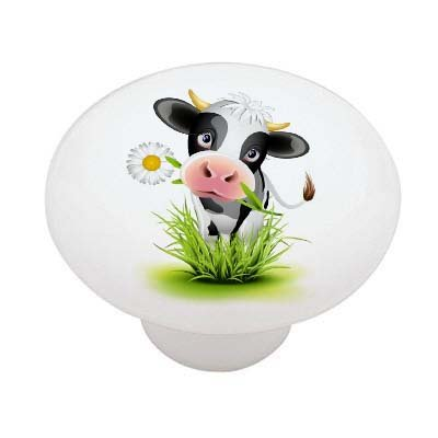 Cow with Daisy High Gloss Ceramic Drawer Knob -