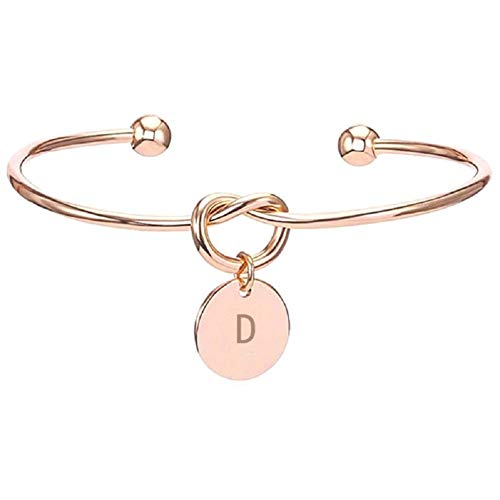 - DIANE LO'REN 18kt Rose Gold Plated Love Knot Initial Letter Bangle Bracelet (D)