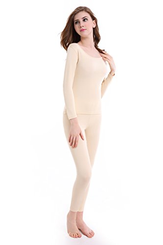 Women Long Johns Crew Neck Thermal Underwear Thin Lightweight Base Layer Set by CnlanRow (Image #3)