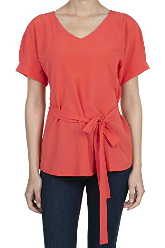 9023 Women's Short Sleeve V-Neck Self Tie Waist Blouse Tops CANYONCORAL M ()