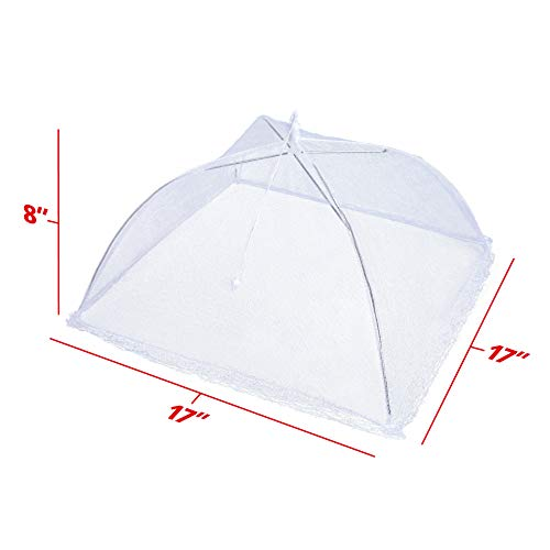 Apecks(TM) (6 pack) - Pop-Up Mesh Food Cover for outdoors - Extra Large - Bug Protector - Food Tent - 17''x17'' - Umbrella Tent For Bugs, Mosquitoes, Flies - Reusable & Collapsible - Plant Protector by Apecks (Image #4)
