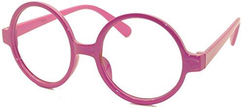 FancyG Retro Geek Nerd Style Round Shape Glass Frame NO LENSES - Fuchsia]()