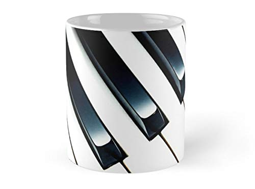 Hued Mia Black White Piano Keys Music Keyboard Geometric Pattern Mug - 11oz Mug - Features wraparound prints - Dishwasher safe - Made from Ceramic - Best gift for family ()