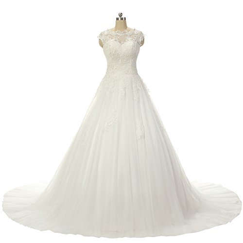 Dress Train Lace for Sleeve Ball Bridal Wedding with Gown Gown White Bride JAEDEN Cap E7qIw1Wq