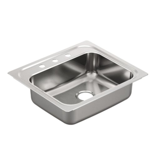 Moen G201963 2000 Series 20 Gauge Single Bowl drop-in Sink, Stainless Steel (Single 2000 Series)