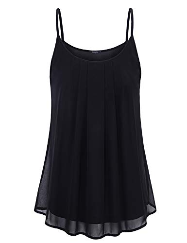 (Lotusmile Spaghetti Strap Tank Tops for Women Summer Beach Cami Top Causal Chiffon Camisole Layered Pleated Front Loose Fit Office Wear Blouses Sleeveless Camis for Work,Black,Large)