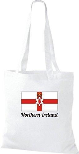 ShirtInStyle Bolso de tela Bolsa de algodón Yute de país Northern Irlanda Irlanda del norte - fucsia, 38 cm x 42 cm Blanco