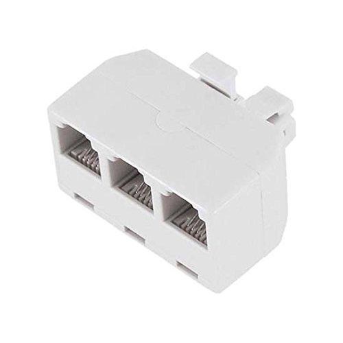 Three Way Phone Adapter (3-Way Modular Phone Splitter Line Tri Plex Adapter RJ11 Wall White Adapter T Splitter 3 Way Triplex Line 4 Conductor Snap-In Device Tap Line Jack Converter)