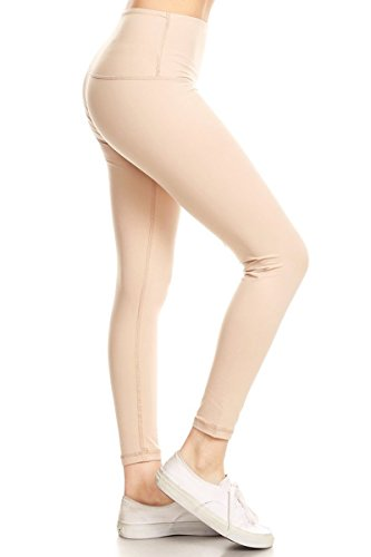 Leggings Depot Premium High Waisted Tummy Control Yoga Leggings with Hidden Pocket and Cotton Rib Leggings