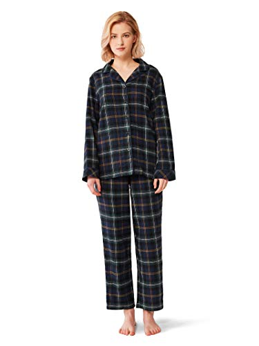 SIORO Womens Flannel Pajamas Set 100% Cotton Pj Sets Sleepwear Loungewear, Black Watch Plaid, M (Black Flannel Pajama)
