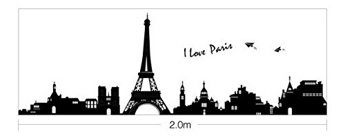 (Large I Love Paris Eiffel Tower City Silhouette Wall Stickers DIY Mural Art Decal Self Adhesive Removable PVC Wallpaper Decor,Black,23.6 inch*35.17 inch Original)