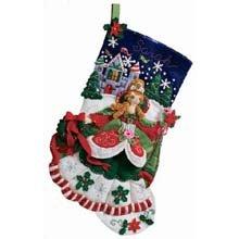 Bucilla 18-Inch Christmas Stocking Felt Applique Kit, 86140 Princess]()