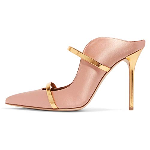 FSJ Women Fashion Pointy Toe Pumps High Heels Mule Sandals Double Straps Slide Shoes Size 7 Pink-12 cm