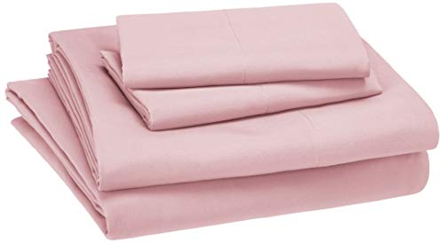 AmazonBasics Kid's Sheet Set - Soft, Easy-Wash Microfiber - Full, Light Pink (Pink Sheet Set Full)