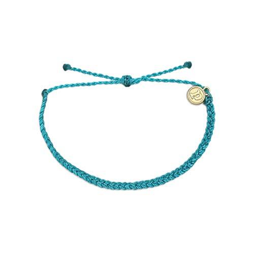 Pura Vida Pacific Blue Mini Braided Bracelet - Plated Charm, Adjustable Band - 100% Waterproof (Island Ankle Bracelet)