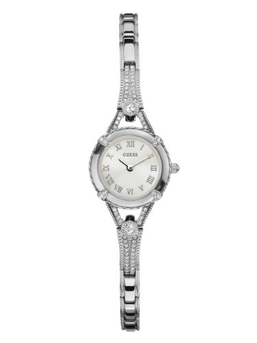 1 Petite Silver-Tone Watch with Silver Dial , Crystal-Accented Bezel and Stainless Steel G-Link Band (Crystal Silver Tone Metal)