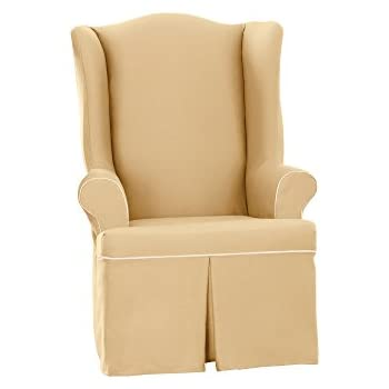 Contemporary Wing Chair Slipcovers Cotton Duck In Design