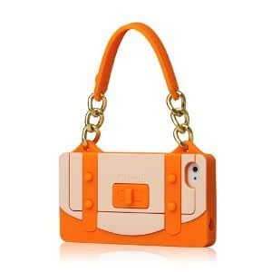 HJX iphone 4/4s Orange Tote Handbag W/Gold Chain Silicone Soft Case Cover fit for the iphone 4/4S
