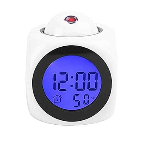 ZengBuks Proyección LCD Multifuncional Voz Que Habla Despertador Retroiluminación Reloj de Escritorio Digital con Pantalla de Temperatura: Amazon.es: Hogar