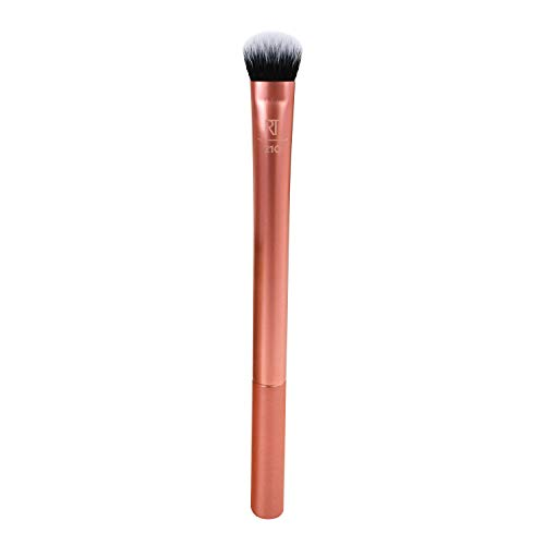 Real Techniques Expert Concealer Brush with Ultra Plush Custom Cut Synthetic Taklon Bristles and Extended Aluminum Ferrules Uniquely Shaped (Packaging May Vary)
