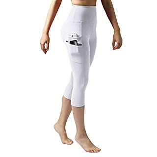 """ODODOS Women's High Waisted Tummy Control Workout Capris, 21"""" Inseam Leggings with Dual Pockets, White, X-Small"""