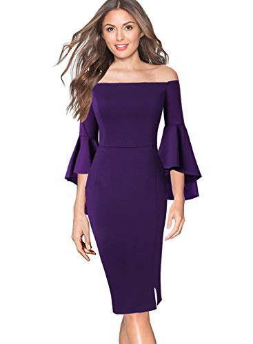 (VFSHOW Womens Off Shoulder Ruffle Bell Sleeve Purple Cocktail Party Club Bodycon Sheath Dress 1231 PUP XS)